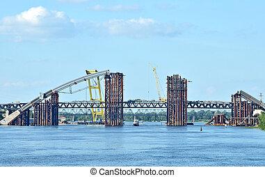 ukraina, bro, dnieper, kiev, plats, flod, konstruktion, över