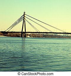 ukraina, bro, kiev, över, flod, dnepr, moskva