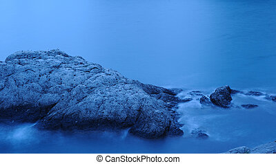 ukraina, crimea, endurance., długi, sea., morze, noc, świt, sfotografowany