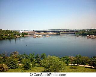 ukraina, dnepr., driva, vattenkraft, zaporozhye., flod,...