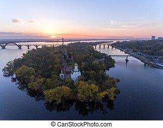 ukraina, flykt, stad, ö, över, (dnipro, dnepropetrovsk,...