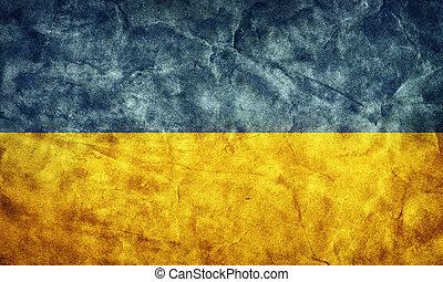 ukraina, grunge, flag., pozycja, z, mój, rocznik wina, retro, bandery, zbiór