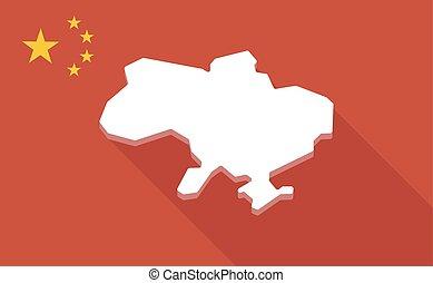 ukraina, mapa, długi, bandera, porcelana, cień