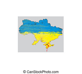 ukraina, mapa, wektor, krew, crimea