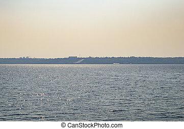 ukraina, -, vatten, horisont, flod, dnepr