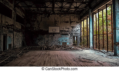 ukraine, école, gymnase, abandonnés, chernobyl