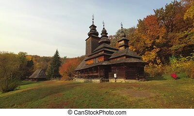 ukraine, église, traditionnel, pirogovo, tout, bois, village, orthodoxe
