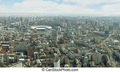 ukraine, été, bâtiments, infrastructure, oeil, ville, résidentiel, kiev, vue, bourdon, oiseau, panoramique, partie, central, tir, urbain, sunset.