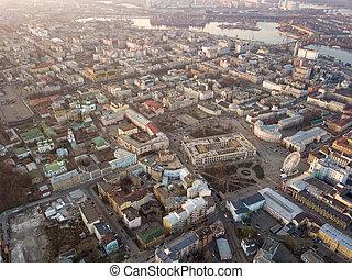 ukraine, été, dnieper, rivière, oeil, kiev, bourdon, ville, kiev, vue, -, district, oiseau, panoramique, partie, historique, central, podol, sunset.
