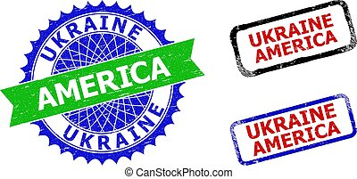 UKRAINE AMERICA Rosette and Rectangle Bicolor Stamps with Grunged Textures