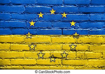 Ukraine and EU Flag - EU and Ukraine Flag painted on brick ...