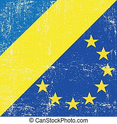 Ukraine and european grunge flag