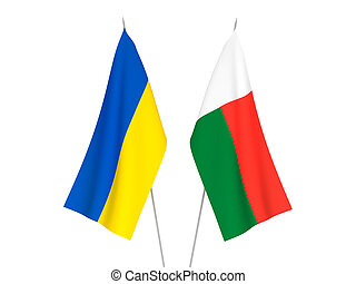 Ukraine and Madagascar flags - National fabric flags of ...