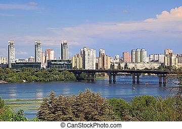 ukraine, bâtiments, secteurs, dnipro, résidentiel, sur, vue, sien, paysage, kyiv, nouveau, rivière, côté, banque, gauche
