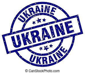 Ukraine blue round grunge stamp
