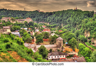 ukraine, byen, -, kamianets-podilskyi, udsigter