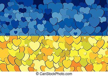 ukraine, cœurs, drapeau, fait, fond