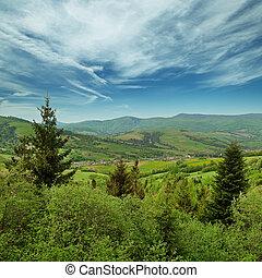 ukraine, carpathians, -, paysage, montagnes
