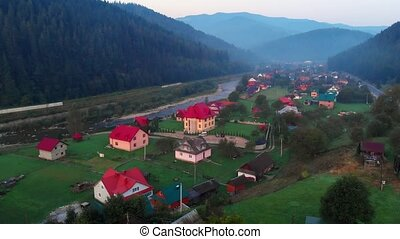 Ukraine, Carpathians, Yaremche. Early morning. Aerial drone shot