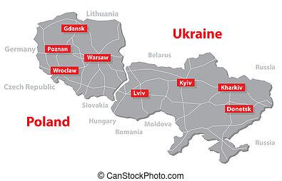 ukraine, carte, pologne, vecteur