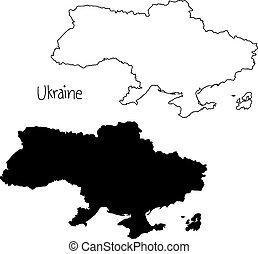 ukraine, carte, silhouette, contour, -, isolé, illustration, main, lignes, vecteur, arrière-plan noir, dessiné, blanc