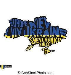 ukraine, carte, silhouette, typographie, drapeau, noir, colors.