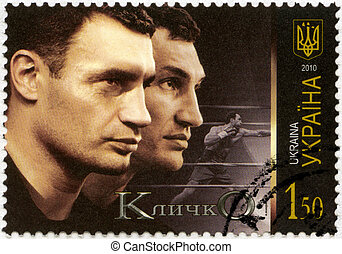 UKRAINE - CIRCA 2010: A stamp printed in Ukraine shows Ukrainian boxers Vitaliy and Volodymyr Klitschko, circa 2010