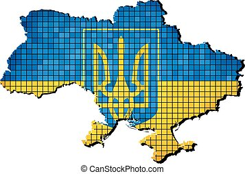Ukraine Coat of Arms with flag insi