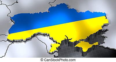 Ukraine - country borders and flag - 3D illustration