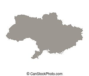 Ukraine country borders. Gray silhouette of Ukraine map, European land territory. Political or geographical design element vector illustration on white background