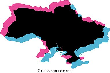 Ukraine country silhouette with chromatic aberration effect.