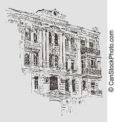ukraine, croquis, kiev, dessin, bâtiment historique