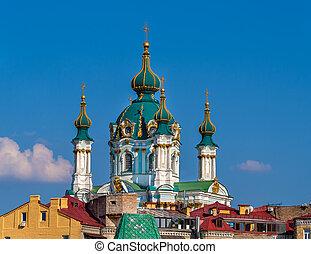 ukraine, cupola, andrew's, -, st., kyiv, kirke