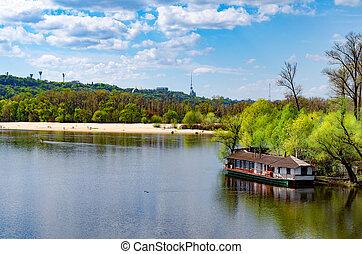 ukraine, dnieper, kiev, printemps, ensoleillé, rivière, jour