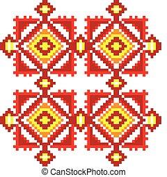 Seamless embroidered good like handmade cross-stitch ethnic Ukraine pattern. Vector art-illustration.
