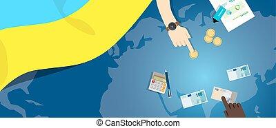 ukraine, fiscal, concept, financier, carte, argent, budget, illustration, commercer, monnaie, drapeau, banque, économie