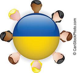 Ukraine Flag Button Teamwork People Group