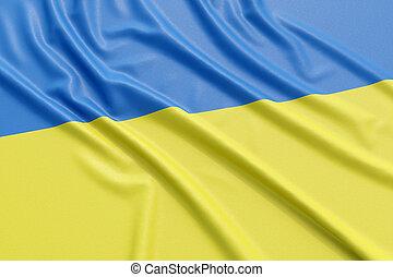 Ukraine flag. Wavy fabric high detailed texture. 3d...