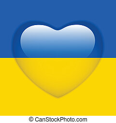 Ukraine Flag Heart Glossy Button
