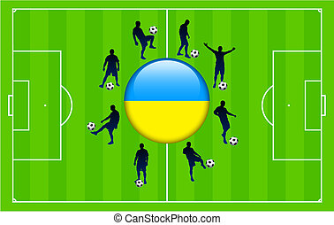 Ukraine Flag Icon Internet Button with Soccer Match