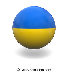 Ukraine flag - National flag of Ukraine on sphere isolated...