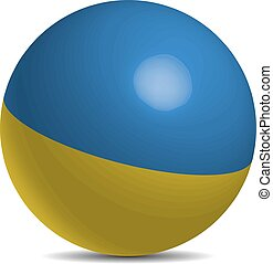 Ukraine flag on a 3d ball with shadow