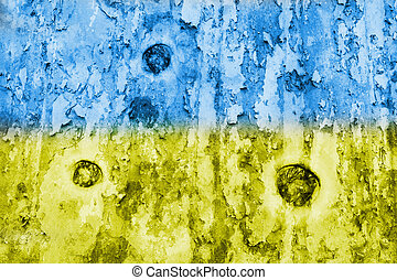 Ukraine flag on a weathered grunge background