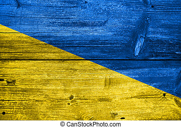 Ukraine Flag painted on old wood plank background
