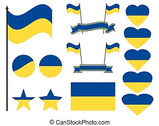 Ukraine flag set. Collection of symbols, flag in heart. Vector illustration