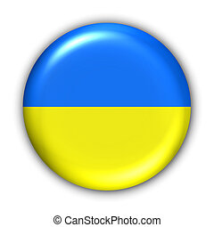 Ukraine Flag - World Flag Button Series - Europe -...