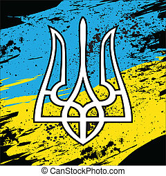 Ukraine flag - Ukrainian coat of arms on national flag....