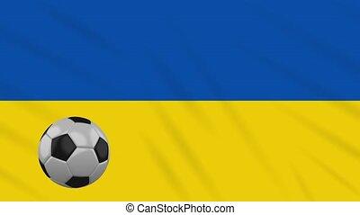 Ukraine flag waving and football rotates, loop - Ukraine...