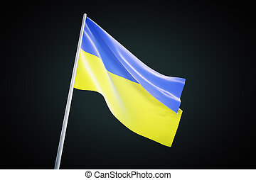 Ukraine flag waving on a black background, 3d render