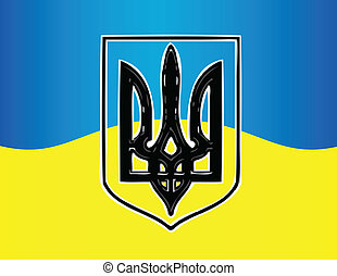 Ukraine flag with national emblem  trident